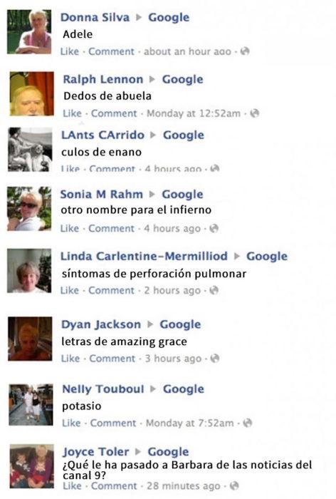 abuelos preguntándole a google en facebook