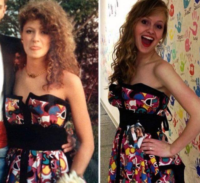 El mismo vestido que su mamá utilizó en su graduación mujer risa colorido