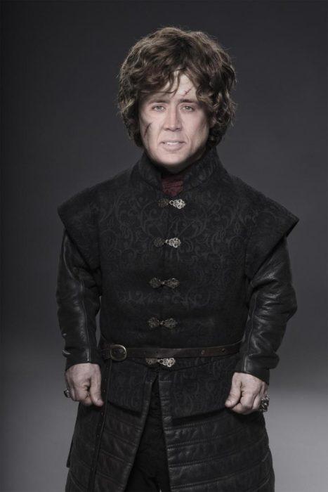 Tyrion Lannister con la hacia de Nicolas Cage