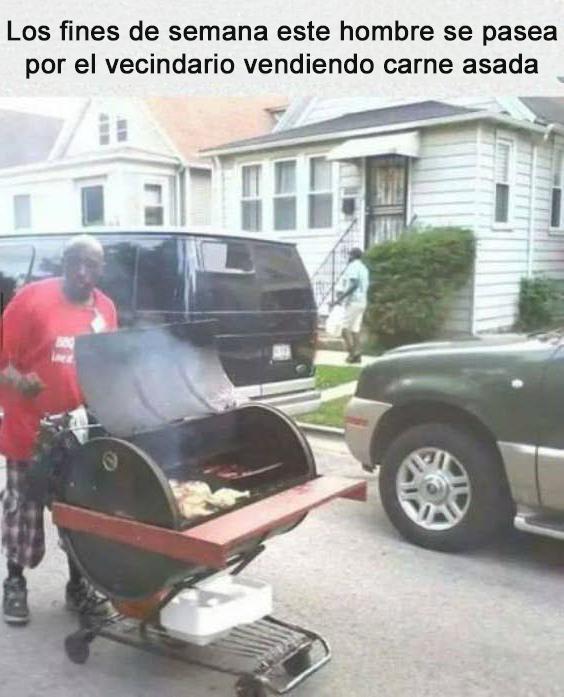 hombre vende carne asada los fines de semana
