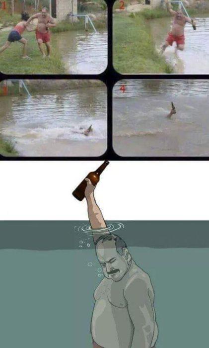 Hombre cae al agua mas salva su caguama