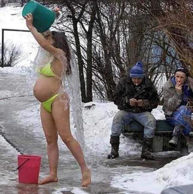 Ducha traje de baño rusa embarazada