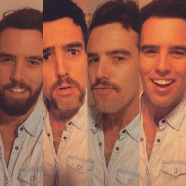 antes y después de afeitarse de éste joven de camisa azul
