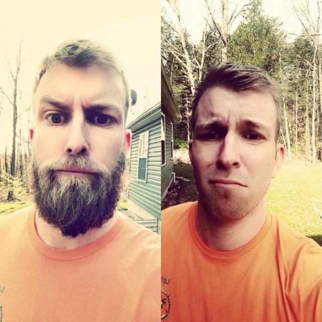 hombre en el bosque haciendo comparativa con ó sin barba