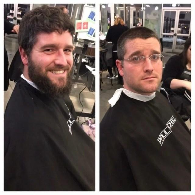 antes y después de afeitarse en la barberia