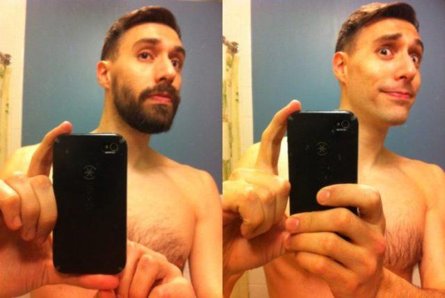 sujeto en su baño bebiendo una fotografia antes y después de afeitarse
