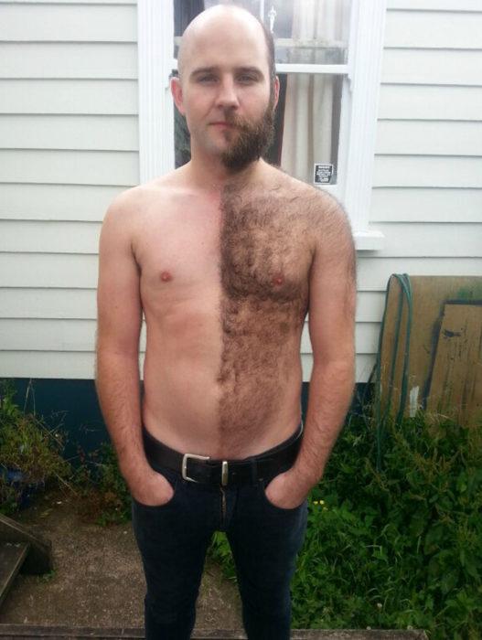 hombre afeitado de la mitad del cuerpo