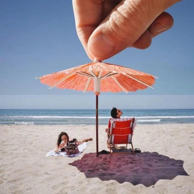 Fotomontajes - sombrilla bebida en la playa