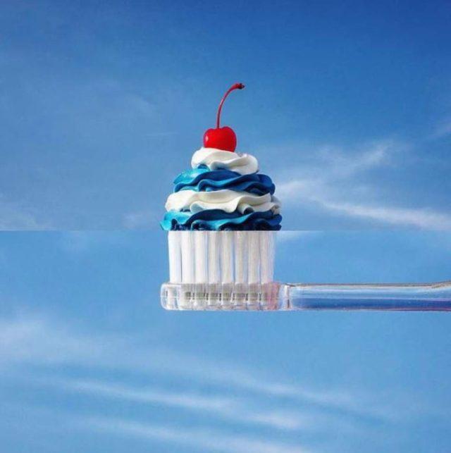 Fotomontajes - cepillo de dientes frosting