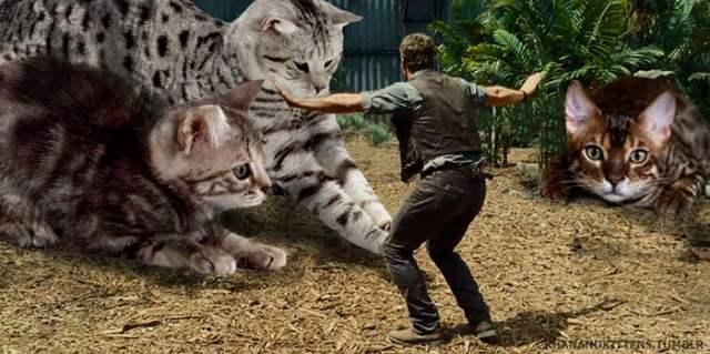 escena jurassic world con gatitos