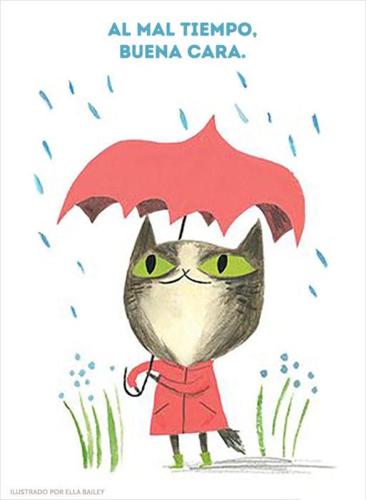 ilustración dichos gatito lluvia