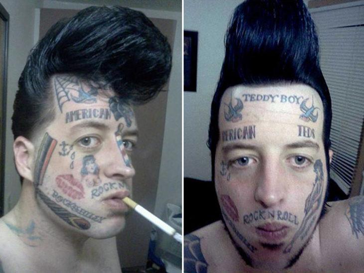 Varios tatuajes en un solo rostro