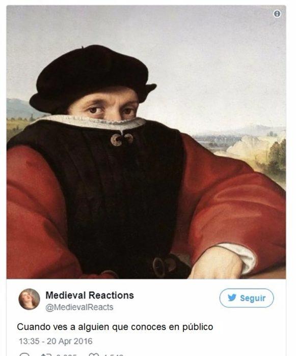 Pintura de hombre con media hacia cubierta por la ropa