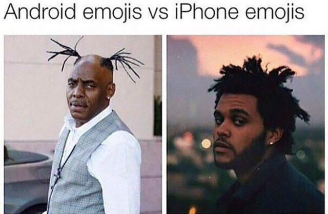 Emojis de Android Vs Emojis de iPhone utilizando a Weeknd cual modelo