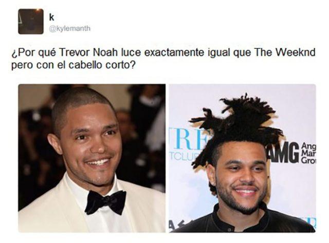 Trevr Noah y Weeknd son iguales mas con distinta peinado