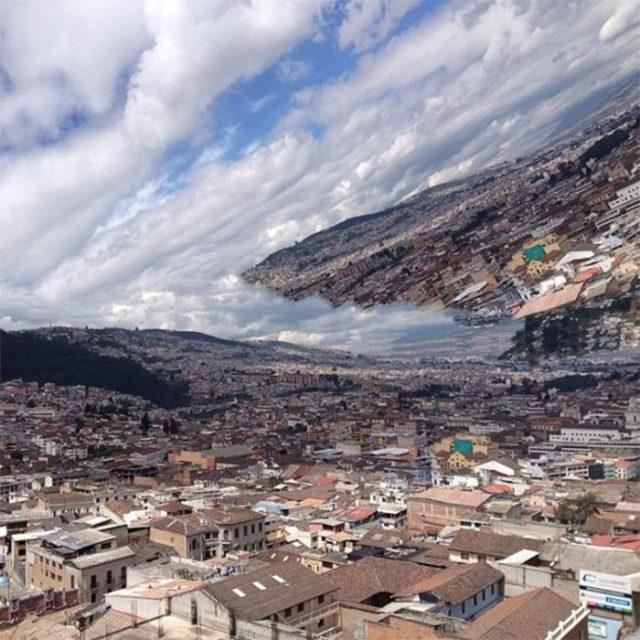movimiento de la camara hacer que la urbe parezca en las nubes