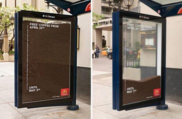 Publicidad en parada de bus ingeniosa creativa