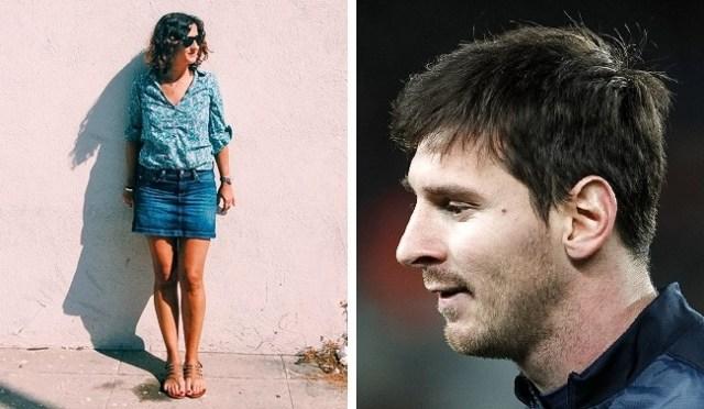 Mujer fotografía cuerpo completo, sombra Messi