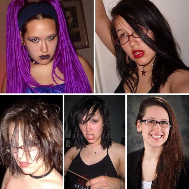 Antes y después chavala emo gótica ahorita chavala normal