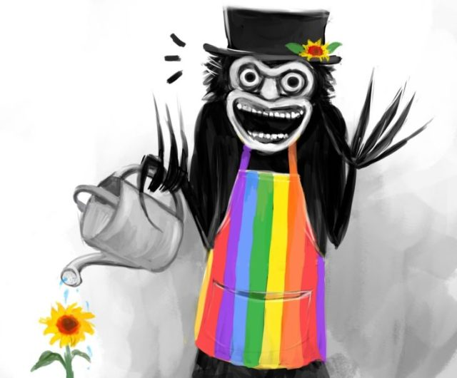 babadook gay regando plantas