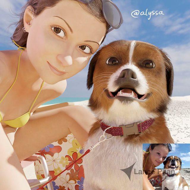 mujer en la playa con su chucho convertida en personaje de Pixar