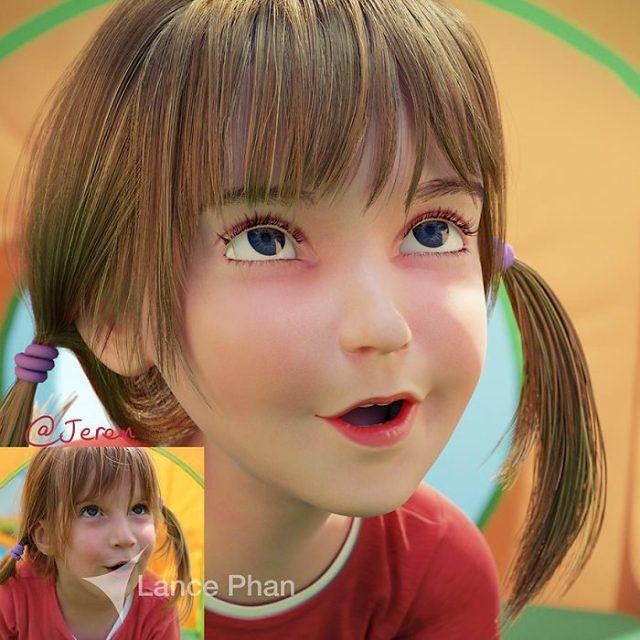 niña de colitas convertida en personaje de Pixar