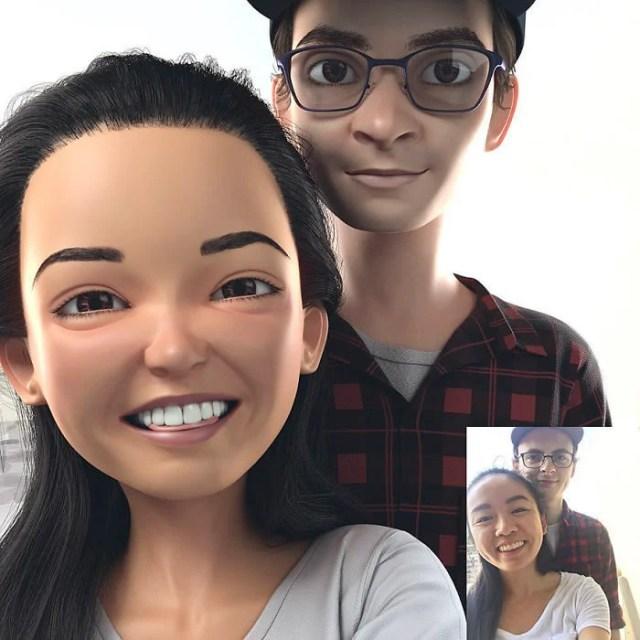 pareja convertida en personaje de Pixar