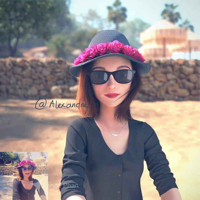 mujer con sombrero convertida en personaje de Pixar