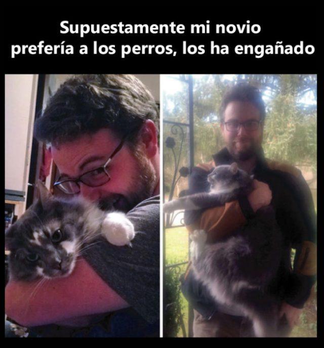 Hombre con gatito foto