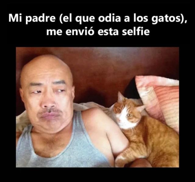 Papá se jala selfie con gato