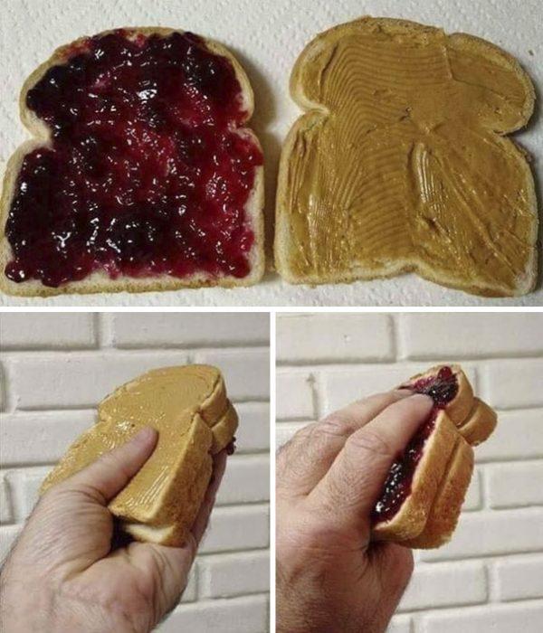 pan con mantequilla de maní y mermelada