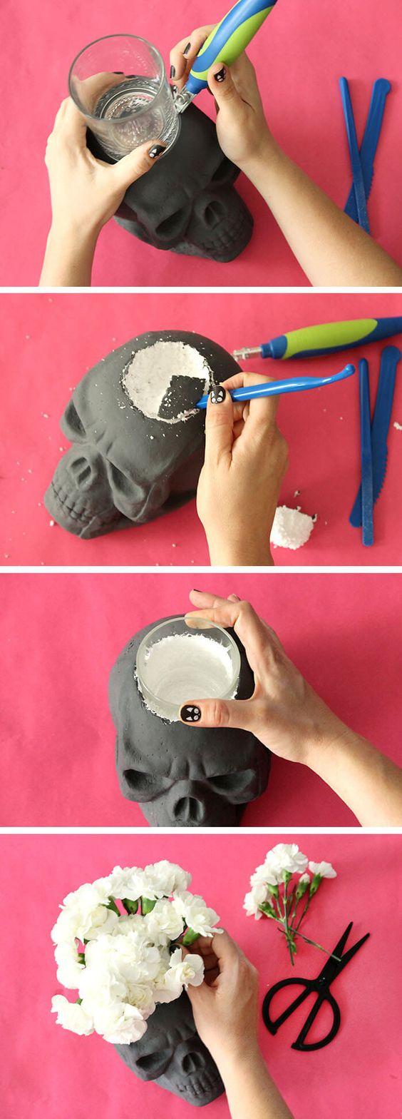 cráneo vela Halloween iniciativas DIY