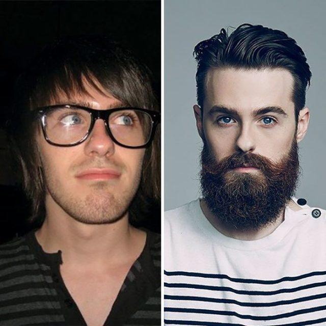 sin barba emo con barba hipster