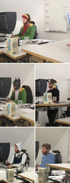 hombre se disfraza en el trabajo