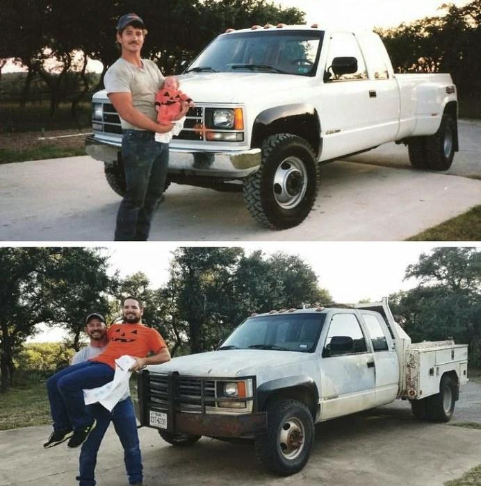 papá carga a su hijo antes y después