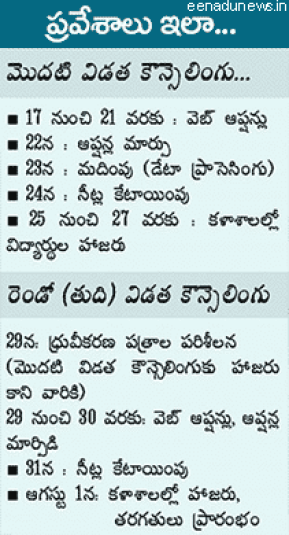 TS EAMCET Counselling 2015 Dates   EAMCET Counselling