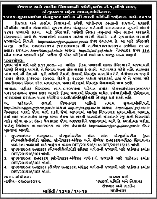 DET Gujarat Recruitment 2015 for 1426 Supervisor Instructor posts