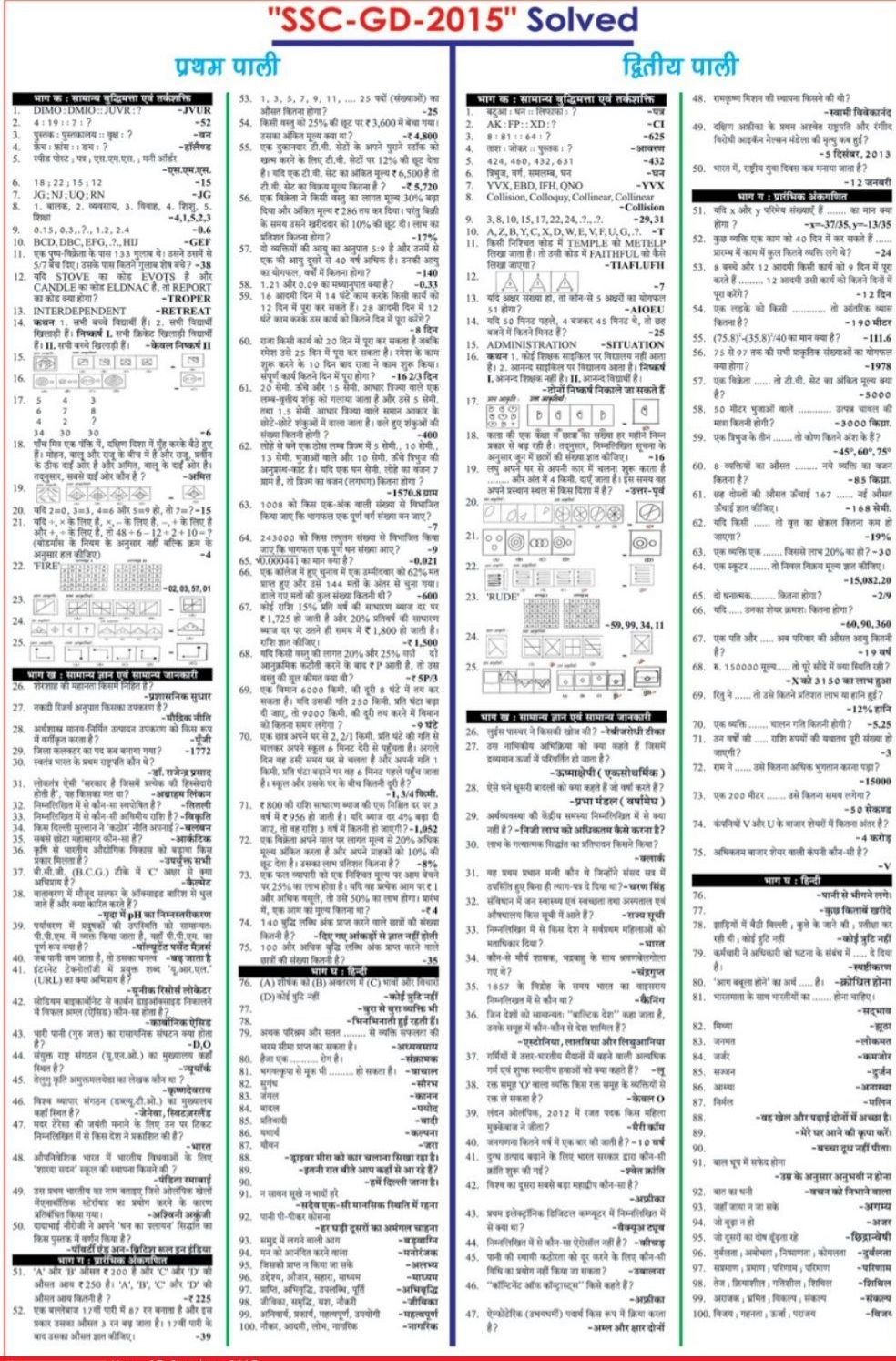 SSC GD Constable Answer Key   SSC Constable 4th Oct Key   Cut off