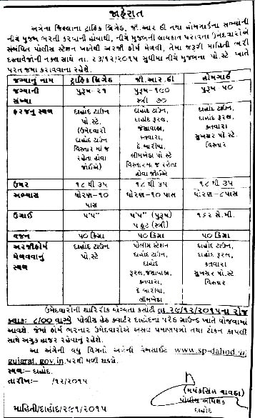 Dahod Police Recruitment 2015 for 331 GRD, Home Guard, and Traffic Brigade Posts