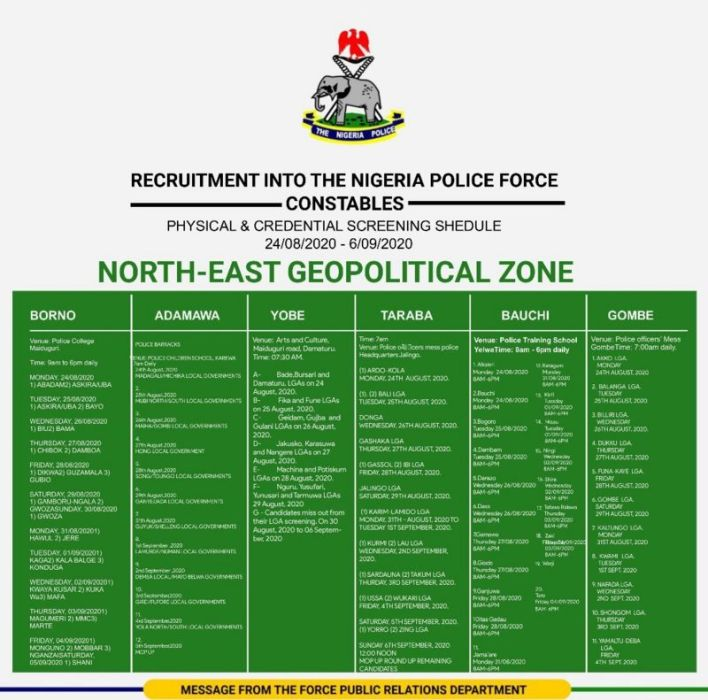 Nigeria Police Shortlisted Candidates 2020 - Download PDF List 4