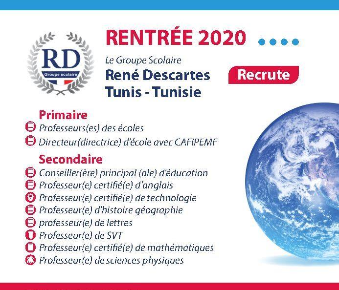 Le Groupe Scolaire René Descartes / recrute  [des enseignants]