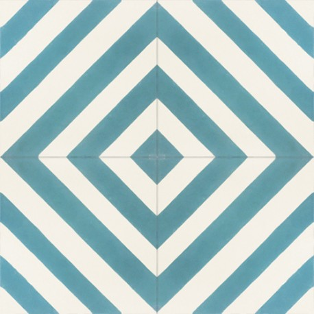 hydraulic cement tiles with dirty white and light blue stripes recuperando