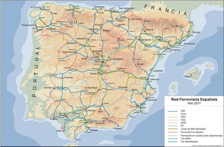 Mapa Ferroviario De España.Practica 14 Comentario Del Mapa De La Red Ferroviaria De