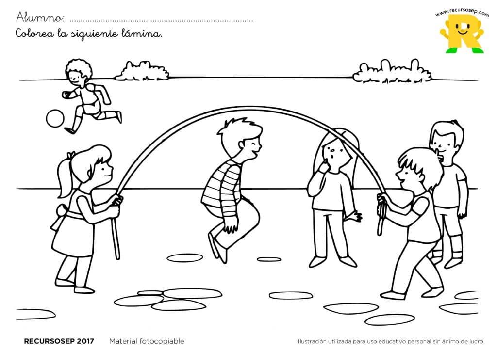 Láminas Para Colorear Juegos Tradicionales