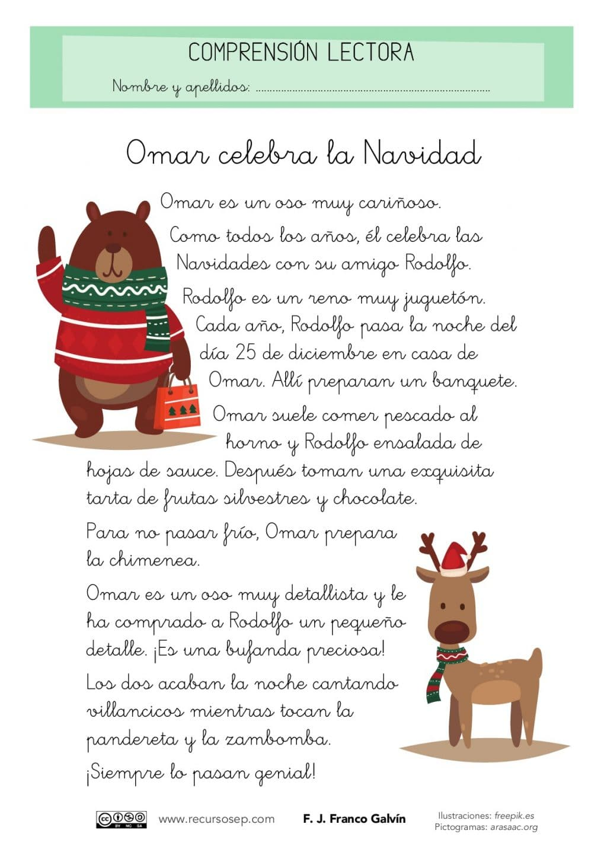 Comprension Lectora Omar Celebra La Navidad Primer