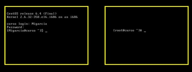 Centos-Dos terminales para comparar la diferencia entre root y un usuario