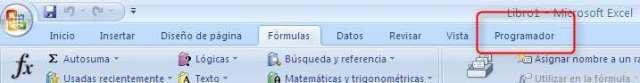 La pestaña de Programador en Excel