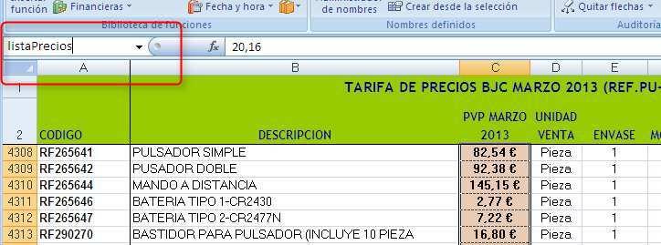 Excel. Cuadro de nombres