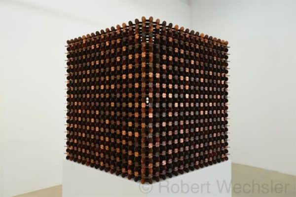 penny 1 600x399 Cubes made of 1000 pennies in metals art  with sculpture penny pennies