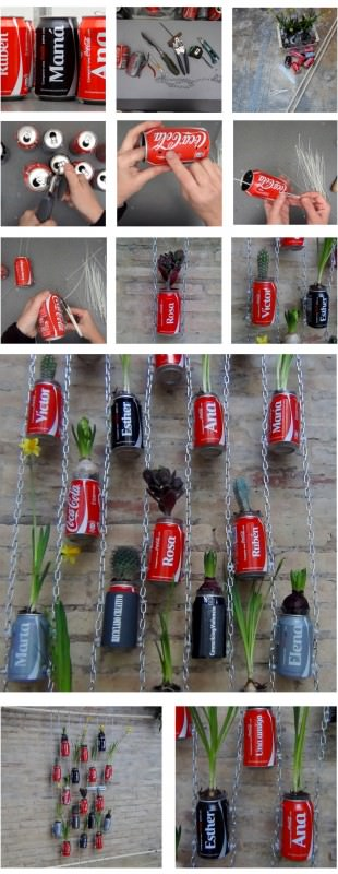 Vertical Garden With Coca Cola Cans Recyclart